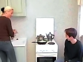 Mother has sex with own son at kitchen