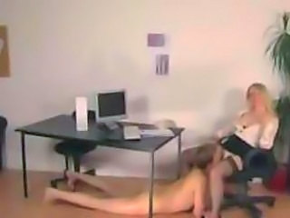 Blonde Office Secretary In Stockings Gives A Nice Handjob