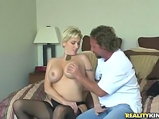 Big Tits Blonde Bus Handjob MILF Stockings