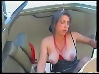 Amateur British Brunette Car Mature Wife