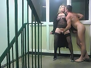 Public Stair well sex and squirt watch for puddle on floor