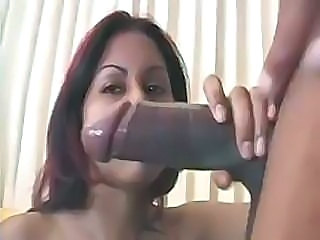 Real black monster cock getting squeezed into a tight shaven pussy