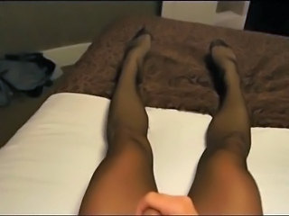 Pantyhose cum through double hose