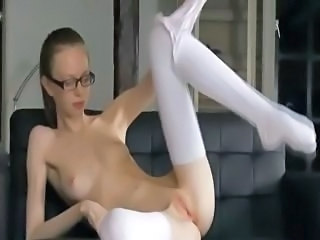 Amateur Glasses Masturbating Pussy Shaved Skinny Small Tits Teen