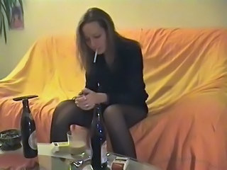 Amateur Drunk Pantyhose Party Smoking