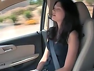 Amateur Brunette Car Cute Funny