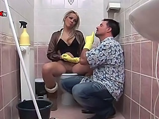 Hot Blonde Gets Fucked and Fisted on the Toilet