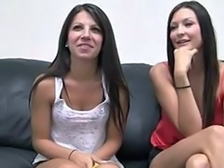 Brunette Casting Cute Teen Threesome