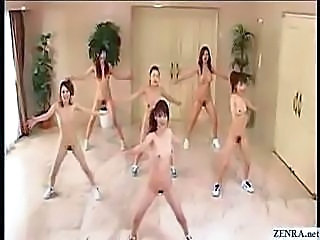 Japanese girls go nudist and workout with aerobics in the buff