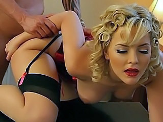 Babe Blonde Corset Hardcore Natural Pornstar Stockings