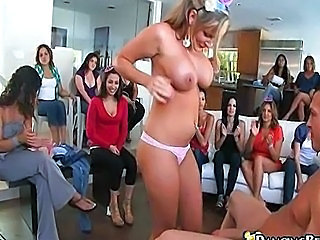 Babe strips at dancing bear party