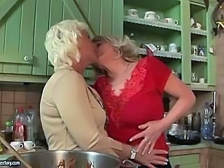 Blonde Kissing Kitchen Lesbian Mature