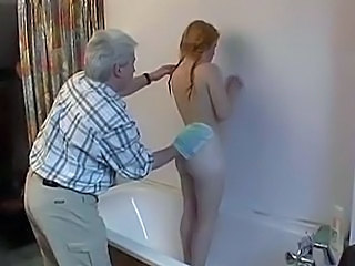 Bathroom Hairy Old and Young Pigtail Redhead