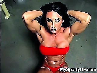 Big Tits Brunette MILF Muscled