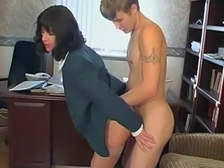 Brunette Hardcore MILF Russian Stockings Teacher