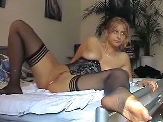 Anal Blonde Corset Natural Stockings