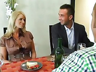 Big Tits Blonde German Kitchen Threesome Wife