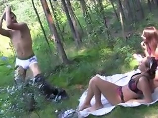 Picnic three-way for some amateur chicks invited for some fun