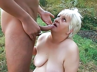 Blond granny filthy fucking outside by the fire