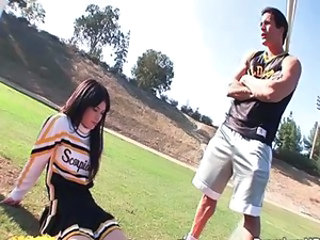 Brunette Cheerleader Cute Outdoor Teen