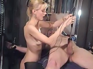 Submissive Guy's Cock Gets Wired Up And Electrified Bringing Enormous Pain