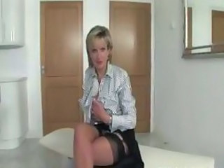Stockings with lady sonia gets her fetish going solo