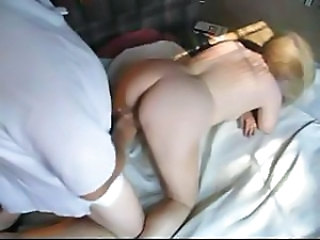Blonde Donna Cumming gets drilled from behind and uses some dildos