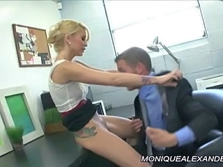 Blonde Clothed Licking MILF Office Pornstar Tattoo
