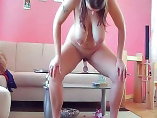 Fat Chubby Ex Girlfriend riding Dildo on the table