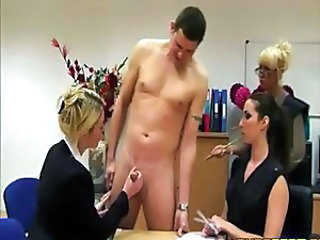 Three bored ladies measuring a cock