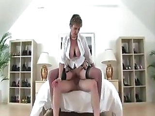 Big Tits Mature Pornstar Riding Stockings