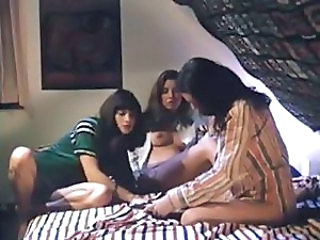 Vintage hardcore threesome with a trio of lesbos licking pussy
