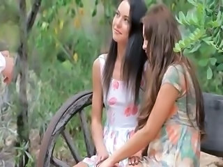 enchanting outdoor FFM anal threesome