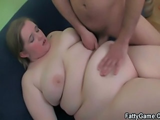 Cock hungry fatty takes it from behind