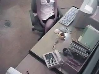 Masturbating MILF Office Secretary Voyeur