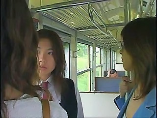 Bus Cute Japanese Lesbian Student Threesome