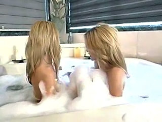 Amazing Bathroom Blonde Lesbian Twins