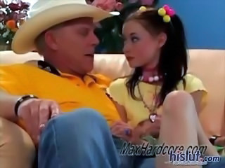 Brunette Handjob Old and Young Pigtail