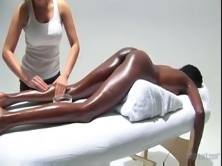 Ebony Interracial Lesbian Massage Oiled