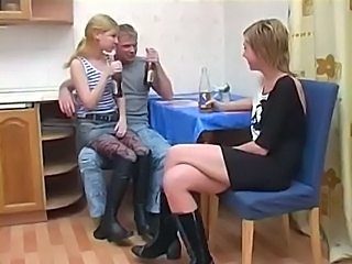 Amateur Blonde Drunk Kitchen Russian Teen Threesome
