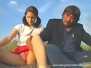 Brunette Daughter Old and Young Outdoor Panty Skirt