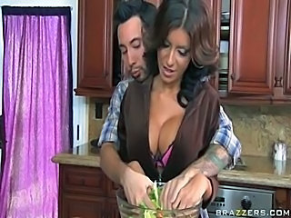 Big Tits Brunette Kitchen Lingerie MILF Pornstar