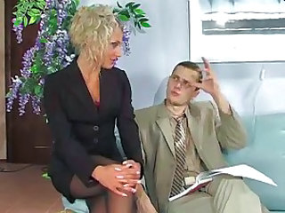 Babe Blonde Office Pornstar Secretary Stockings