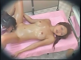 Asian Babe Hairy Lesbian Licking Massage Natural Oiled Pussy