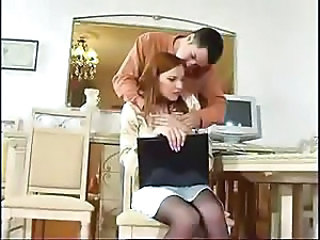 Hot redheaded wife in sexy black pantyhose gets slammed in her ass on the kitchen table