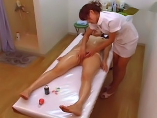 Asian  Japanese Lesbian Massage Oiled Voyeur