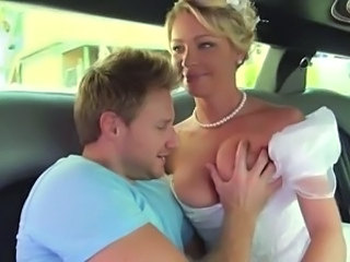 Babe Big Tits Blonde Bride Car Cute