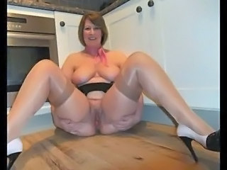 Amateur BBW Big Tits Granny Kitchen Mature Natural Pussy Stockings Wife