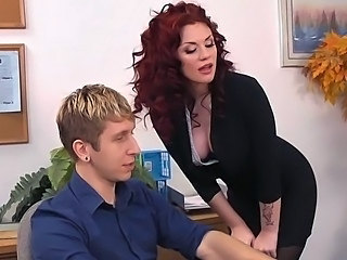 Amazing Cute MILF Office Pornstar Redhead