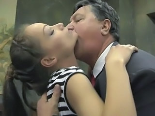 Amazing Daddy Daughter Kissing Old and Young Teen